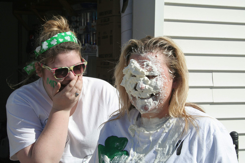 Employees of the South Main Street Friendly Service/Citgo station kicked their Muscular Dystrophy Association fundraising into high gear this week. On Wednesday alone, the store raised $371 in donations. A large percentage of that total came from $5 donations customers made that allowed them to throw a whipped cream pie in the face of store manager Carol Lafreniere. Over the course of four hours, Carol received more than 30 takers on that offer. Store employee Jordan Willis, on the left, found every one of the scenes hilarious. Citgo stations will continue receiving donations for MDA until March 23. Customers can donate $1 for a green paper shamrock or $5 for a gold paper shamrock. —Bee Photo, Hicks