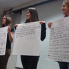 From left, Rebecca Dutsar, Mary Oliver, and Julie Davin review their lists of findings during Newtown High School's Community Conversation About Education. —Bee Photo, Bobowick