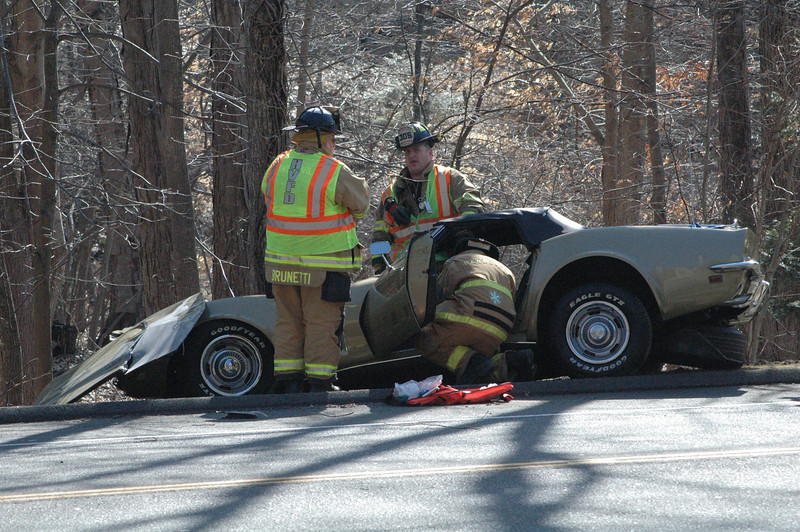 Police said that motorist John A. Pantan, 64, of 28 Old Hawleyville Road was driving a green 1969 Chevrolet Corvette Stingray convertible eastward near 151 Mt Pleasant Road (Route 6) at about 1:24 pm on March 7, when the vehicle experienced mechanical problems and then traveled off the right side of the road, striking some curbing and then hitting a tree. Police said Pantan told them that the auto lost power as he was driving, resulting in the accident. Pantan was transported by ambulance to Danbury Hospital for treatment of injuries following the crash. Hawleyville firefighters responded to the accident. Police said that after investigating the incident, they issued Pantan a misdemeanor summons on charges of misuse of a marker plate, driving an unregistered vehicle, and making a restricted turn.                                                      —Bee Photo, Gorosko