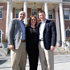 Flagpole Radio Café producers Martin Blanco, left, and Barbara Gaines met with Joel Faxon, a partner in the law firm Stratton Faxon, outside Edmond Town Hall on Thursday, March 8.                                                                                                       —Bee Photo, Hallabeck