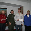 Kyle O'Connor, second from right, received his Anna C. Clow Scholarship check from The Newtown VNA on March 5. With Kyle, from left, are VNA Scholarship Committee members Mae Schmidle, Carole Polcyn and Sally Schwerdtle, scholarship chairman. —Bee Photo, Hicks