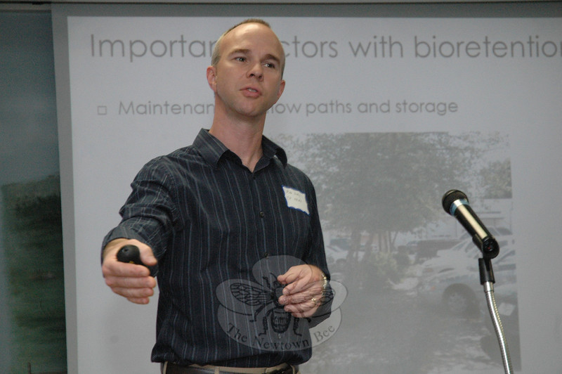 "Michael Dietz, PhD, a state educator on water pollution control, spoke at a March 20 environmental seminar on the use of low-impact development techniques designed to minimize water pollution stemming from growth. —Bee Photo, Gorosko<br /> <br /> Read more here:<br /> Low-Impact Development Urged To Limit Water Pollution<br />  <a href=""http://newtownbee.com/2012-03-22__13-32-13"">http://newtownbee.com/2012-03-22__13-32-13</a>"