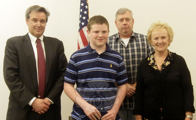 "St Rose eighth grader Patrick Briscoe stands with the Newtown Board of Selectmen after being honored with a proclamation for his work raising funds — one penny at a time — so the Newtown community could be represented among the bricks and pavers at The National  September 11 Memorial at the former World Trade Center site in New York City. Patrick also was recognized for his efforts with a national Prudential Spirit of Community Award. —Bee Photo, Voket<br /> <br /> Read more here:<br /> Selectmen Approve Pound Policies, Honor Teen's 9/11 Memorial Fundraiser<br />  <a href=""http://newtownbee.com/2012-03-21__14-46-08"">http://newtownbee.com/2012-03-21__14-46-08</a>"