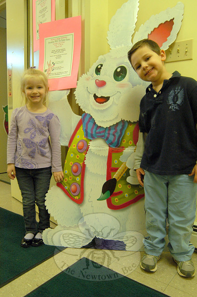 Wesley Learning Center's spring fundraiser, Breakfast With The Easter Bunny, is scheduled for this Saturday, March 24, from 9 am to 11 am at Rauner Hall at the Newtown United Methodist Church. Fried egg sandwiches, bagels, cream cheese, doughnuts, coffee, tea, and juice will be available. Wesley Learning Center students Kayla Sinapi and Andrew Goldsmith stood with a bunny cutout announcing the event this week. Andrew said people should attend the event to support the school and see the Easter Bunny. A silent auction will also be conducted. The event costs $20 per family for up to five family members, and tickets can be purchased at the door.  —Bee Photo, Hallabeck