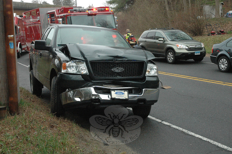 Police report a three-vehicle chain-reaction accident about 9:30 am on March 21 on the section of Berkshire Road lying between its intersections with Wasserman Way and Toddy Hill Road. Motorist Susann Varano, 43, of Bridgewater, who was driving a 2002 Cadillac Escalade southward on Berkshire Road, stopped for traffic conditions, after which southbound motorist Ceylan Eren, 22, of Danbury, who was driving a 2002 Jeep Grand Cherokee SUV, stopped behind the Cadillac. Southbound motorist Matthew Plungis, 27, of Bethlehem, who was driving a 2005 Ford F-150 pickup truck, then struck the rear end of the Jeep, pushing the Jeep into the rear end of the Cadillac. There were no injuries. Sandy Hook  firefighters responded to the accident. Police  issued Plungis an infraction for following too closely.	—Bee Photo, Gorosko