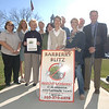 "Town officials and volunteers gathered on the first day of spring Tuesday, March 20, to promote the barberry blitz campaign to remove the invasive species from Newtown's backyards. From left: volunteer Holly Kocet, Parks and Recreation Director Amy Mangold, First Selectman Pat Llodra, who holds a flyer that will be available at a seminar on meadows Saturday, March 24, from 10 am to noon at the Newtown Municipal Center, Conservation Commission member Marjorie Cramer, Health District Director Donna Culbert, conservation Chairman Mary Gaudet-Wilson with the Barberry Blitz billboard, conservation members Joe Hovious and Adria Henderson, and Land Use Agency Director George Benson and Deputy Director Rob Sibley. —Bee Photo, Bobowick<br /> <br /> Read more here:<br /> Spring Renews Barberry Blitz Campaign<br />  <a href=""http://newtownbee.com/2012-03-22__13-46-16"">http://newtownbee.com/2012-03-22__13-46-16</a>"