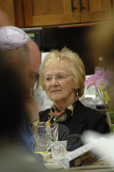 First Selectman Pat Llodra was among the guests of this year's Interfaith Passover Seder.  (Gorosko photo)