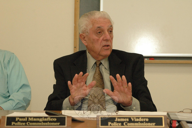 Police Commission Chairman Paul Mangiafico makes a point about traffic control at a commission session on April 3. The commission is the local traffic authority.  (Gorosko photo)