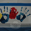 Some of the palm prints that are displayed on a poster created by FUN to promote Autism Awareness Month.  (Gorosko photo)