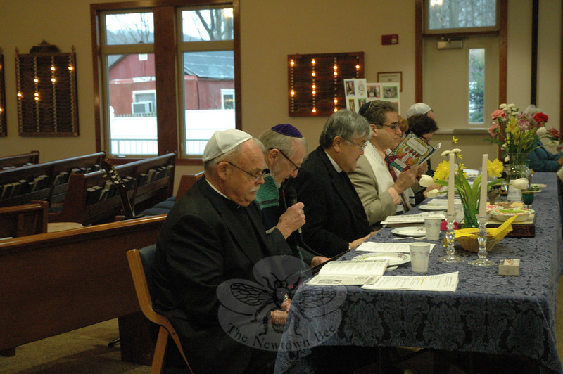 Another view of the head table: From left, Monsignor Robert Weiss of St Rose of Lima Church; the Reverend Leo McIlrath of Sandy Hook, the ecumenical chaplain of The Lutheran Home of Southbury; Rev Mel Kawakami of Newtown United Methodist Church, and Rabbi Shaul Praver.  (Gorosko photo)