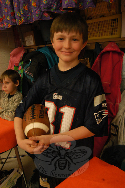 Middle Gate fourth grader Bret Pierce acted as his favorite football player, Aaron Hernandez, during the school's Living Biographies event.  (Hallabeck photo)
