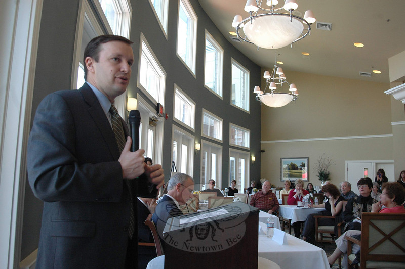 Congressman Chris Murphy, left, speaks with attendees during a public town hall meeting April 10 about several key concerns facing Connecticut's seniors, including Medicare and Social Security. The meeting, hosted by Maplewood at Newtown, provided an opportunity for guests to ask questions and voice opinions on those and other issues.   (Voket photo)