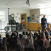 Nonfiction children's science author Seymour Simon spoke to Middle Gate Elementary school students on Thursday, April 12.   (Hallabeck photo)