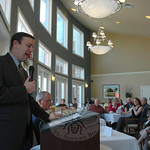 Congressman Chris Murphy, left, speaks with attendees during a public town hall meeting April 10 about several key concerns facing Connecticut?s seniors, including Medicare and Social Secu ...