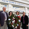 By the end of this week, the tags for Newtown Junior Women's Club 2010 Tag-A-Gift pro-gram will be available at Newtown Savings Bank on Main Street and in the Sand Hill Plaza, Wesley Learning Center in Sandy Hook, and at Union Savings Bank (Church Hill Road at Commerce Road.) From left, Newtown Savings Bank Assistant Vice President Brian Amey, Newtown Savings Bank Assistant Branch Manager for Sand Hill Plaza Katie Smith, and Newtown Junior Women's Club members Ruth Brassard and Christine Grabowski stand with a wreath that will go on display at the Main Street Newtown Savings Bank location. Each year, the club collects toys that have been requested by children in town whose parents could use some help filling Christmas wishes, and each ornament has a corresponding gift request on it. Tags can be found at the above locations. Anyone interested in taking an ornament should return the unwrapped gift to the location where the tag was picked up.  (Hallabeck photo)