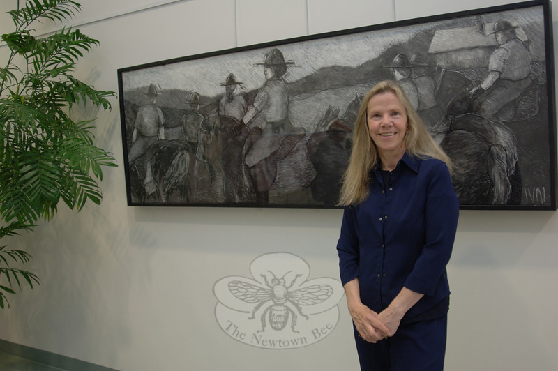 "Artist Ival Stratford-Kovner's work, which has recently been on view at the Newtown Municipal Center will continue to donate 10 percent of sales to the Second Company Governor's Horse Guard (2GHG). Her show ""Horse Drawn Revisited,"" came down May 11. Ms Stratford-Kovner's series of drawings executed in charcoal, monochromatic pastel, oil stick and selected burnt sienna wash, had been on view at the Newtown Municipal Center since April 12. The 2GHG troopers and mounts, stationed less than a mile from the municipal center, provided both the inspiration and a unique artistic challenge. The show served to honor the historical significance of the horse and rider relationship, said Ms Stratford-Kovner. The artist has promised to donate a portion of each work sold to the horse guard, and to programs that benefit disabled military veterans returning from service in Connecticut.    (Bobowick photo)"