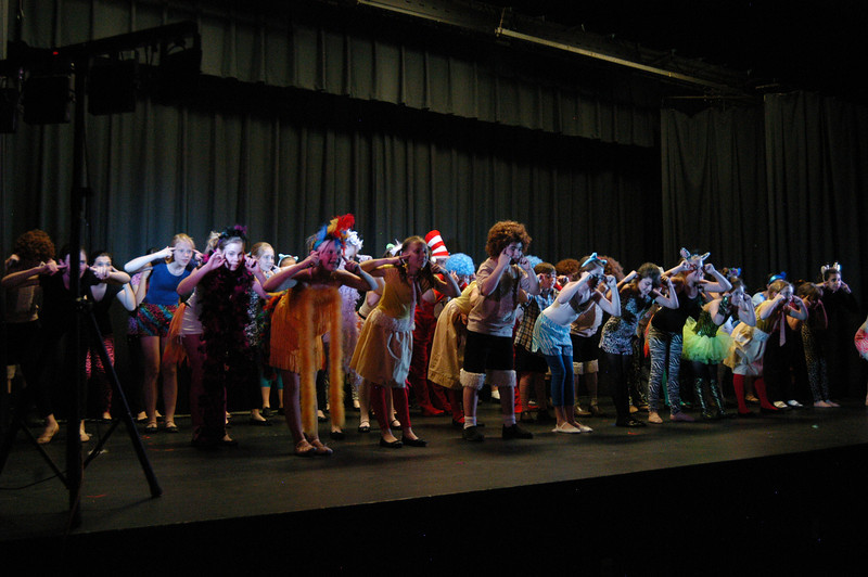 St Rose of Lima School students performed Seussical, a musical based on the books by Dr Seuss, on Friday, May 18, at Newtown Middle School for an appreciative audience. The stu-dents were photographed during Thursday's dress rehearsal. The production was overseen by Sabrina's Encore Productions.   (Hallabeck photo)