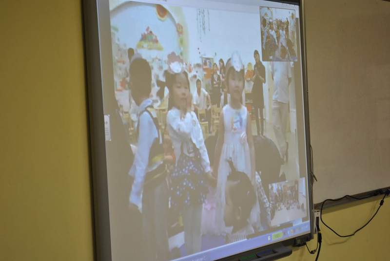 Kindergarten students from Yu Nias School in Hangzhou, China perform a special song for students at St Rose School during a Skype conversation May 23.   (Crevier photo)