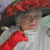 Senior Center member Doris Travis dressed up in a specially decorated hat and gloves for the Annual Senior Center Mother's Day Bingo and Tea, Wednesday, May 23. Women from the center are celebrated each year for Mother's Day, and decorating and wearing fancy hats is part of the tradition. (Crevier photo)