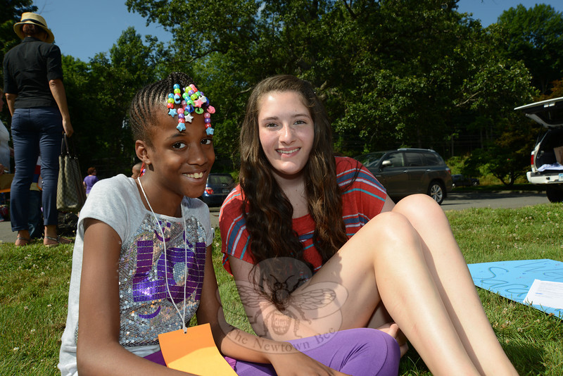 Sarayah Shar, left, was ready for a break and some country fun. With her is friend Gaby Lindade of Shelton.  (Bobowick photo)