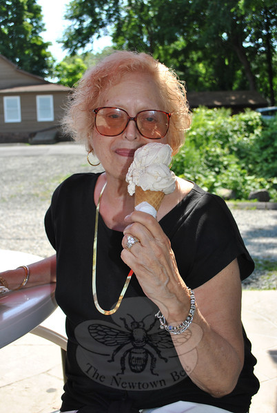 Nunnawauk resident MaryAnn Mohagel gets ready to indulge in her free ice cream cone at Holy Cow Ice Cream Shop, thanks to the generosity of Golden Opportunities of Sandy Hook.     (Crevier photo)