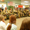 Sandy Hook Volunteer Fire & Rescue Company members and Newtown Hook & Ladder Company members visited with Reed Intermediate School students on Tuesday, September 11.    (Hallabeck photo)
