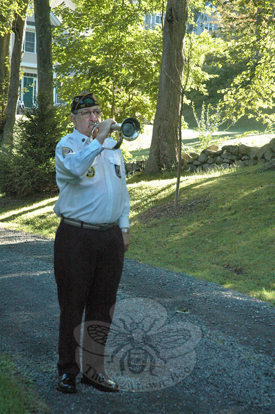 Bugler Tom Peters of American Legion Post #100 of Bethel played Taps at the 9/11 memorial event on Tuesday morning in Dodgingtown.   (Gorosko photo)