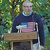 Dodgingtown resident Howard Lasher speaks Tuesday morning at ceremonies held on the 11th anniversary of the terrorist attacks of September 11, 2011, honoring the memory of those who died. Approximately 75 people attended the event.   (Gorosko photo)