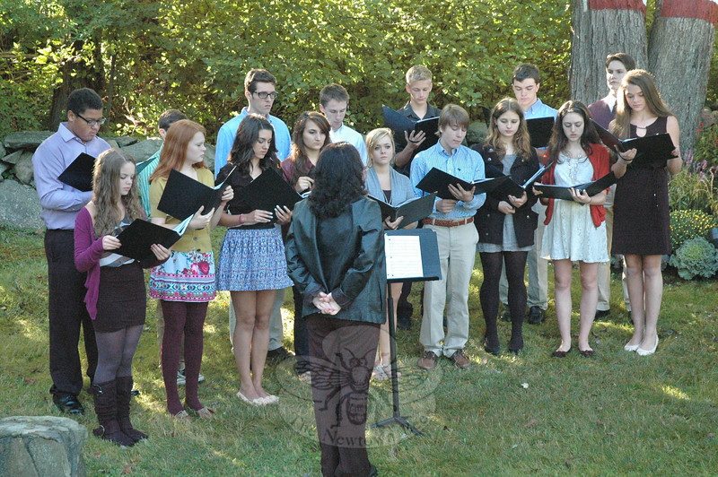 Sixteen members of Newtown High School Choir sang several songs at the 9/11 memorial ceremony in Dodgingtown.  (Gorosko photo)