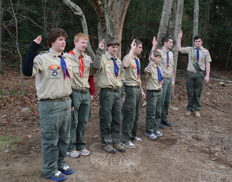 With a crowd of supporters, friends and fellow Boy Scouts in attendance, Matthew Rahtelli recently celebrated the completion of his Eagle Scout project — a veteran's memorial sitting area at St Rose Cemetery.   (Bobowick photo)