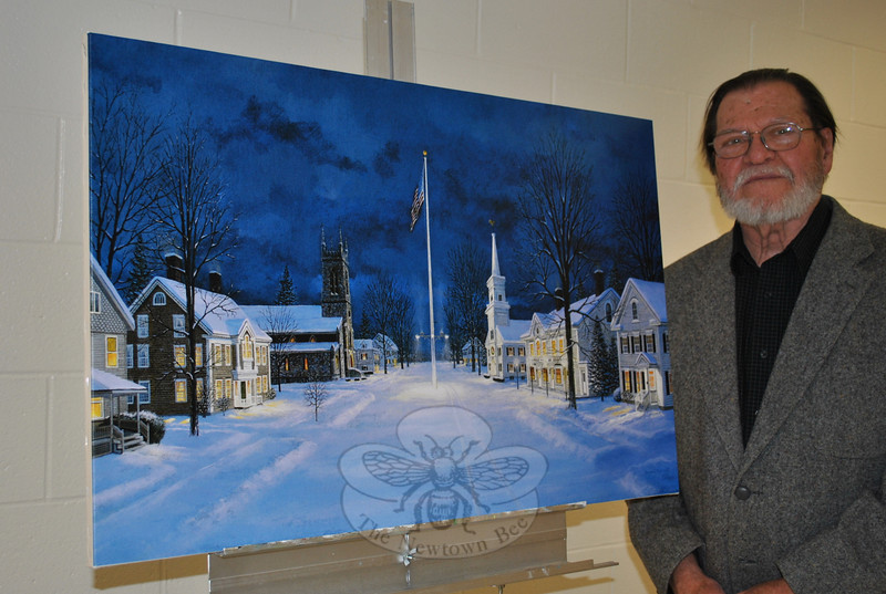 "Artist David Merrill stands next to a giclée print of his painting ""Main Street, Newtown."" Mr Merrill, a former Newtown resident, will be taking orders for the prints and greeting friends old and new during the Holiday Festival on Sunday, December 5. He will be set up in his usual location: the lobby of Edmond Town Hall from 10 am to 4 pm. The 22 by 34-inch giclée is printed on canvas.  (Crevier photo)"