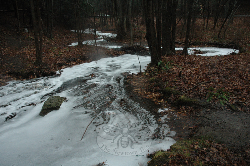 Looking toward Hanover Road, near the state's Pond Brook Boat Launch, a mass of foam floating atop a tributary stream moves toward the Lake Lillinonah section of the Housatonic River after the substance was inadvertently spilled on a Hanover Road driveway about one-half mile upstream and found its way into the stream.  (Gorosko photo)