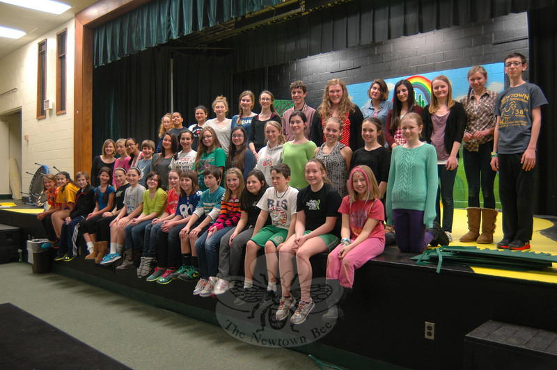 Students involved in the Newtown Middle School drama production of The Wizard of Oz, set to be performed March 15-17, posed for a photo during rehearsal on Tuesday, March 5.    (Hallabeck photo)