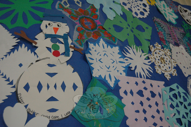 Snowflakes created in response to 12/14 for a PTA drive to decorate Chalk Hill School in Monroe for Sandy Hook School arrived at the school on Thursday, February 28.    (Hallabeck photo)