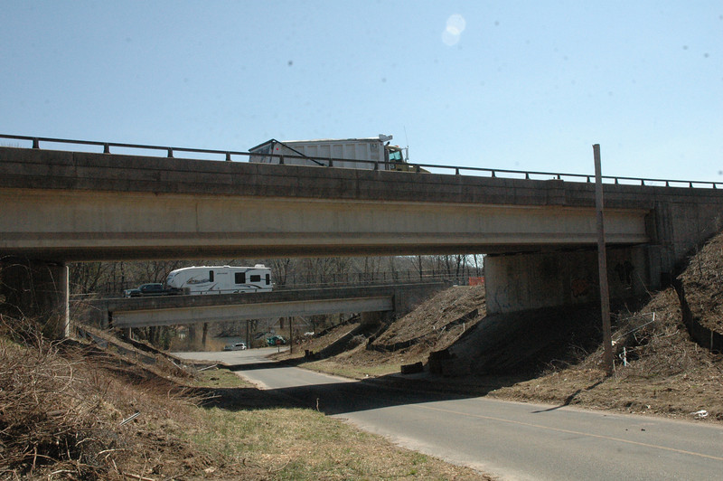 An Interstate 84 bridge over Center Street in the Riverside section of Sandy Hook. The Lake Zoar section of the Housatonic River is in the background.   (Gorosko photo)