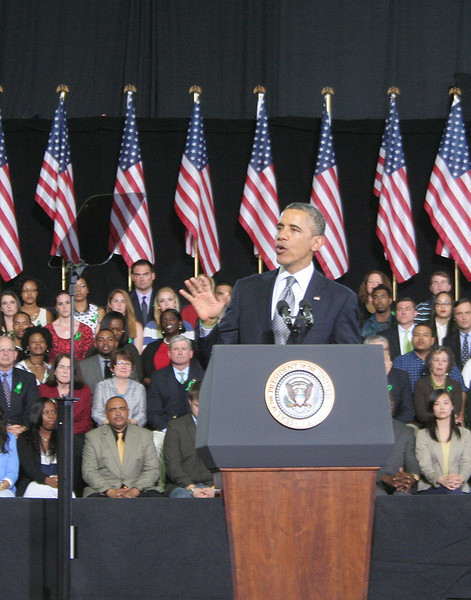 President Obama spoke to a crowd packed into the University of Hartford's Sports Center on Monday, April 8.    (Hicks photo)
