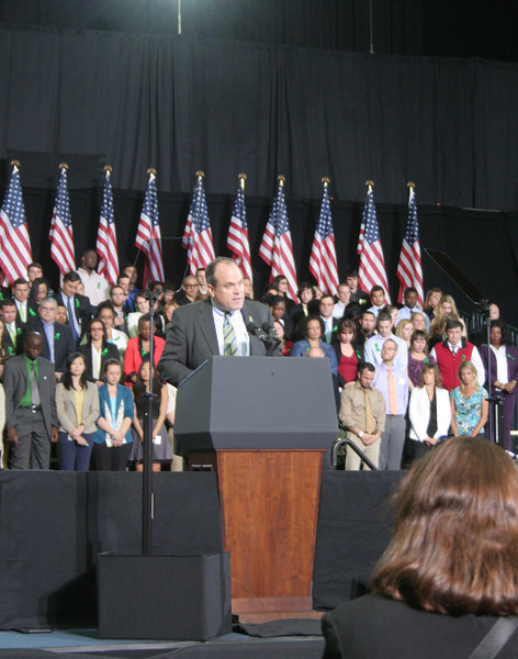 The Reverend Matt Crebbin, senior pastor of Newtown Congregational Church, led the Invocation prior to President Obama's comments at UHartford on April 8.   (Hicks photo)