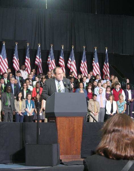 The Reverend Matt Crebbin, senior pastor of Newtown Congregational Church, led the Invocation prior to President Obama's comments at UHartford on April 8.   (Hicks photo)