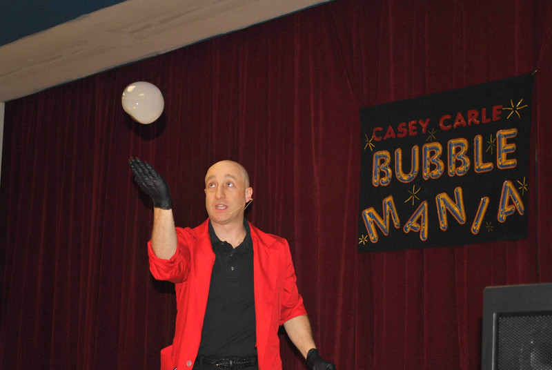 Casey Carle, shown during his 2012 performance in Newtown, will return for another family-friendly show that combines visual comedy, quick wit, science and art, on Saturday, April 27.   (Bee file photo)