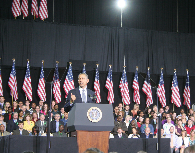 "President Obama told a crowd packed into the University of Hartford's Sports Center that ""Now is the time to make your voice heard from every state house to the corridors of Congress.""   (Hicks photo)"