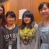 From left, Newtown High School junior Lee Cummings, Japan Society Junior Fellows students Ayumi Miyamoto and Moe Fujikawa, and NHS junior Emily Berube at NHS on Monday, April 1.   (Hallabeck photo)