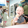 Dominik Hammond, 3, enjoyed the best of both worlds with a chocolate and vanilla swirl Wednesday afternoon at Holy Cow Ice Cream Shop on Church Hill Road. Ferris Acres Creamery, on Sugar Street, and Holy Cow Ice Cream Shop both offered free ice cream cones for children ages 12 and under on April 10. The special event, sponsored by the two local ice cream stands as well as Guida's Dairy, ran from noon until 9 pm, was a great success judg-ing by the steady crowds at both locations.  (Bobowick photo)