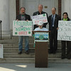 To show their support for expanded federal gun control laws, members of the Newtown Action Alliance conducted a demonstration starting midday on Wednesday on the steps of Edmond Town Hall at 45 Main Street. To dramatize their viewpoint, members of the action alliance read from a list of 3,300 people in the US who have died as a result of gun violence since December 14, 2012.  (Gorosko photo)