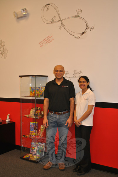 Vivek Subramanian and Geetha Rajgopalan are pleased to offer Newtown students the Mathnasium concept of math enrichment and learning, at their new business located at 266 South Main Street.	 (Crevier photo)