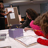 "Regina Rayzvikh, far left, with Regina's Art Center of Brooklyn, N.Y., offered a ""Drawing School for a Day"" lesson on Thursday, April 11, at the C.H. Booth Library. The event was both sponsored and presented by Regina's Art Center. The workshop was open to artists of all ages. From right are Olivia Grasso, her sister Charlotte, and their mother Mary.   (Hallabeck photo)"