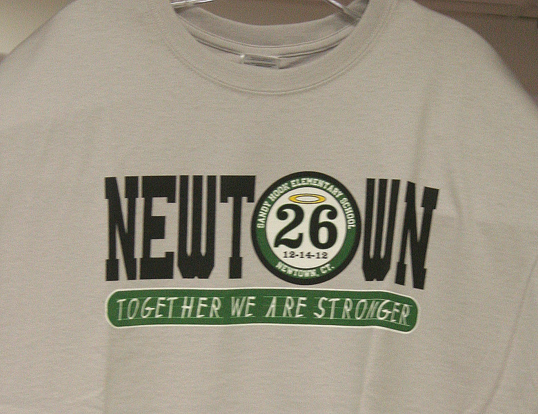 Bridgeport firefighters have been selling T-shirts that honor the 26 people killed at Sandy Hook School on 12/.   (Hicks photo)
