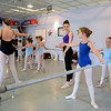 New York City Ballet Principal Dancer Tiler Peck walks through a room of students, helping them with postures and positions as needed. Ms Peck and her fiancé, fellow NYCB Principal Robert Fairchild, made a special visit to Sandy Hook on April 22 to lead a pair of master classes at The Graceful Planet. Students from Newtown Centre of Classical Ballet were also part of the special sessions.   (Bobowick photo)