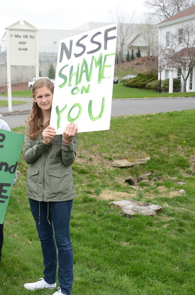 A student protest was held April 18 outside the National Shooting Sports Foundation headquarters.   (Bobowick photo)