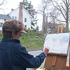 "Diane Dubreuil, a watercolor instructor for the Society of Creative Arts Newtown (SCAN), painted Trinity Episcopal Church on Main Street on Thursday, April 18. Ms Dubreuil said ""en plain air,"" or painting outdoors in the open air, is popular right now, and SCAN offers a class that is all about painting outdoors. For additional information about SCAN visit  <a href=""http://www.scanart.org"">http://www.scanart.org</a>.   (Dietter photo)"