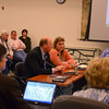 Police Chief Michael Kehoe and Board of Education Chair Debbie Leidlein respond to questions about school security proposals during a special Legislative Council meeting April 30, during which the panel reduced the municipal budget by $150,000 and the district's request by $750,000. The second round budget referendum is scheduled for Tuesday, May 14.   (Voket photo)